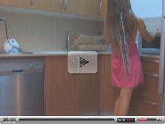 Teen in sneakers in kitchen