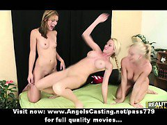 Three superb sexy lesbian blonde girls with natural tits undressing