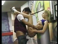 Horny blonde analed in public