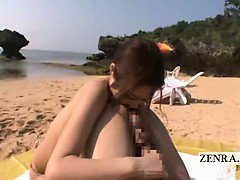 Subtitle Japan beach titjob rimjob handjob with AV star