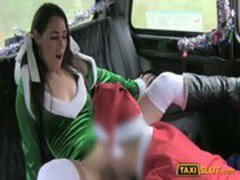 Santa babe Jess drilled with perv driver in a taxi cab