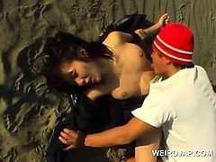 Asian cute school babe gets sexually abused at the beach