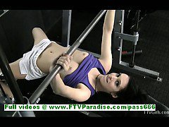 Aiden lovely brunette woman public flashing tits and ass at the gym
