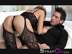 StrapOn Brunette babe pegging her boyfriends ass