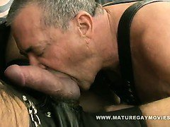 Muscular Tattooed Daddy Fuck His Leather Friend
