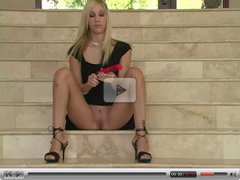 Kristina,splendid blonde chick on the stairs!!