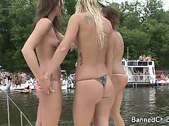 Party girls having fun in this footage