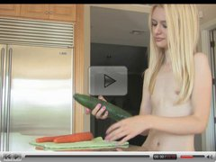 Teen Kennedy Kressler in cucumber and carrots