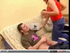 Russian mom punish her son's friend