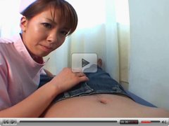 Teen asian nurse in upskirt cock teasing action