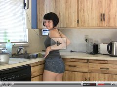 Juliette March gets off in the kitchen