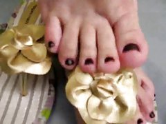 Foot fetish sexy small feet in flip flops