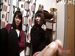 Two hot Japanese teens and a dildo