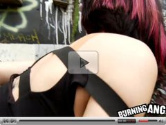Emo girl bent over and fucked outdoors