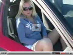 Cute Amateur Blonde Masturbates In Car