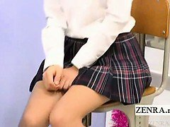 Subtitled Japan schoolgirls classroom masturbation cafe