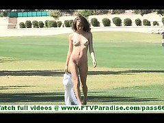 Malena sweet little amateur brunette with natural tits walking naked outdoors and flashing pussy and ass