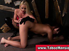 Lesbo domina spanks and fingers bound hoes ass in fetish action