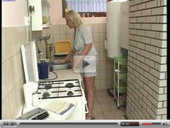 Busty Blond fucked in kitchen