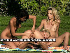 Debby and Jenny and Aneta lesbo teen girls fingering