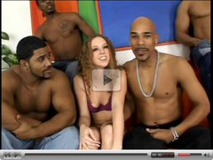 cute redhead gangbanged by four black cocks