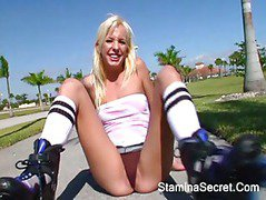 Hot Naughty Teen Blonde Eden Adams rides a White Cock