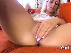 estonian blonde girl playing with toys