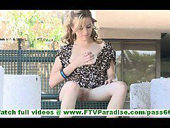 MaeLynn super hot blonde with natural tits and no panties flashing pussy and toying pussy outdoors