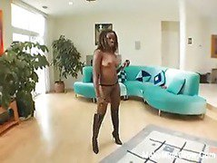 Hot ebony Monique taking care of four