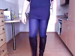 Crossdresser walk in Boots and Minishirt