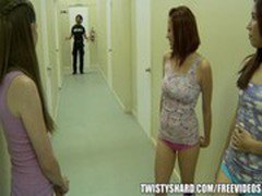 Shy and innocent teen is dared to fuck the dorm security guard