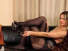 Black pantyhose and ultra sleek lingerie