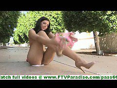 Madelin crazy hot brunette flashing ass undressing and walking naked and toying pussy outdoors