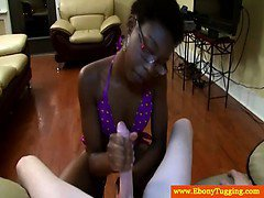 Ebony handjob babe jerks white dude off
