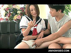 Jap doll in school uniform pussy played before getting fucked