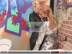 Two super hot blondes get huge facial in gloryhole scene