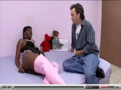hot black preggo gets some white dick