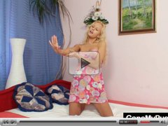 Beautiful blond Audrey Argento pussy gaping