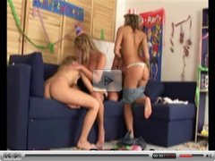 Pretty lesbian teens on hot orgy