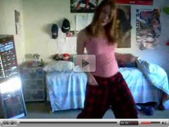 bella redhead dance and strip in her room