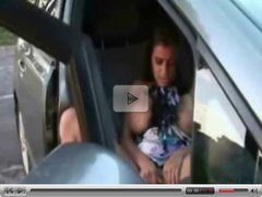 Cute arabian teen masturbates in car