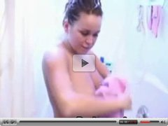 Brandy gives blowjob and handjob on shower