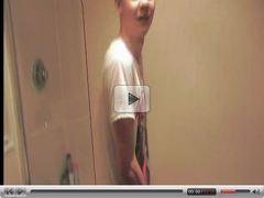 Barely legal twink filmed showering by his boyfriend