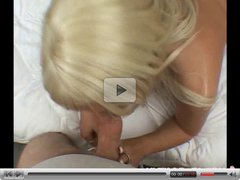 Busty blonde in bed with the tiny cock