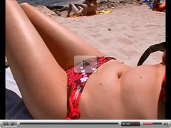 German teen Nadine has sex on the beach