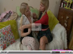 Her first lesbian kiss pussy licking and masturbating