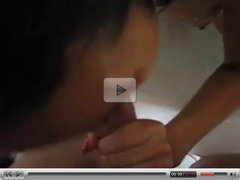 asian girl loves blowjob and his cum in her bathtub