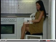 Hot pantyhosed girl in the kitchen