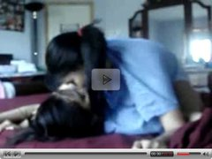 Lesbian asian teens play around at home 1