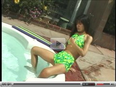 Hot brunette jerks off a lucky guy outdoors